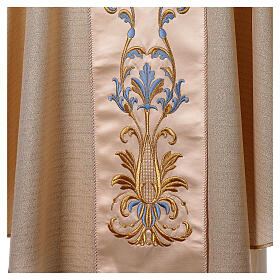 White Marian Chasuble in wool and lurex, with double twisted yarn s4