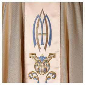 White Marian Chasuble in wool and lurex, with double twisted yarn s5