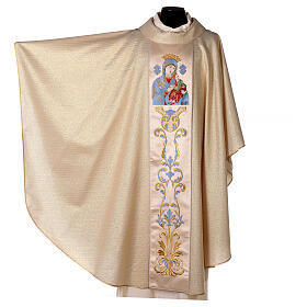 White Marian Chasuble in wool and lurex, with double twisted yarn s7