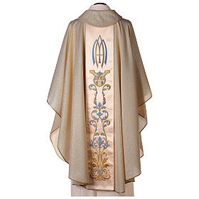 White Marian Chasuble in wool and lurex, with double twisted yarn s8