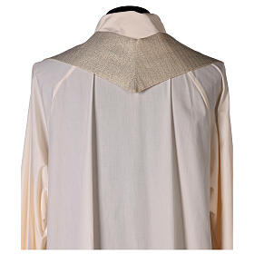White Marian Chasuble in wool and lurex, with double twisted yarn s10