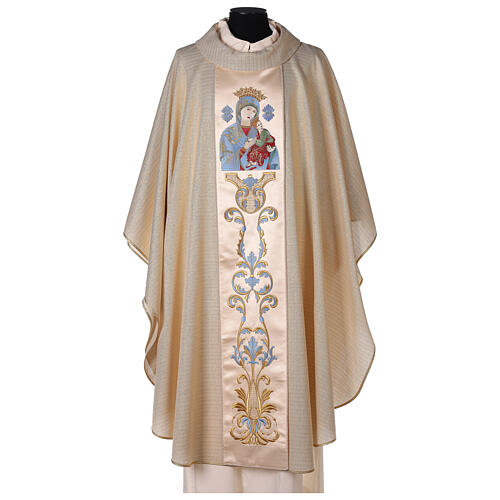 White Marian Chasuble in wool and lurex, with double twisted yarn 1