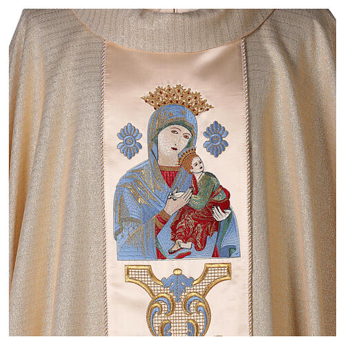 White Marian Chasuble in wool and lurex, with double twisted yarn 2