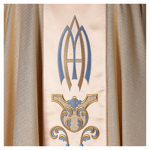 White Marian Chasuble in wool and lurex, with double twisted yarn 5