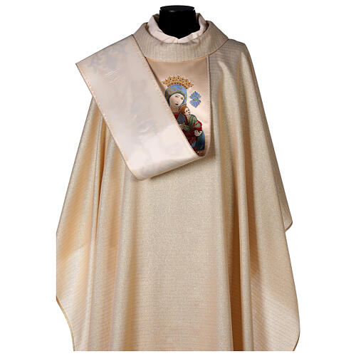 White Marian Chasuble in wool and lurex, with double twisted yarn 6