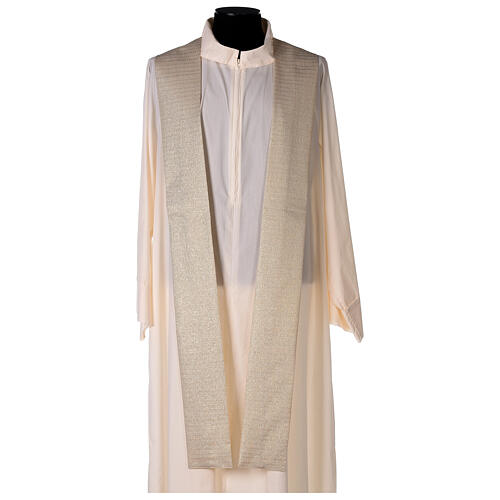 White Marian Chasuble in wool and lurex, with double twisted yarn 9