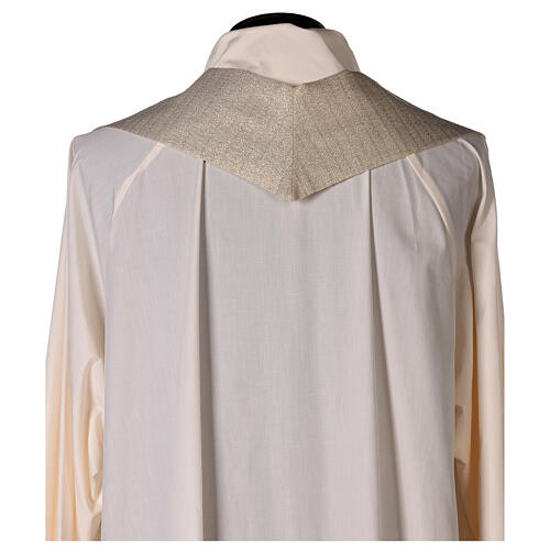 White Marian Chasuble in wool and lurex, with double twisted yarn 10