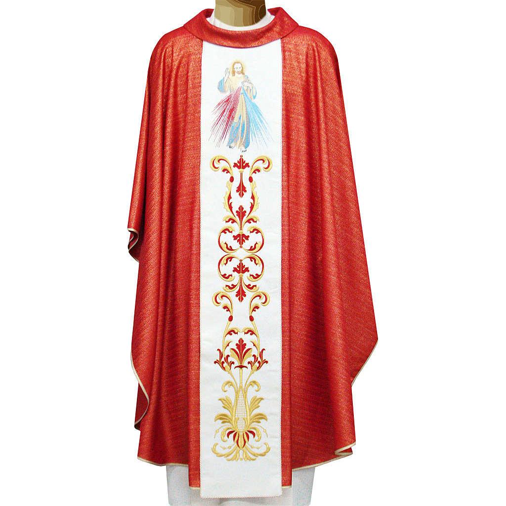 Casulla 95% pura lana 5% lurex Sagrado Corazón Jesus bord 4