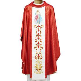 Casulla 95% pura lana 5% lurex Sagrado Corazón Jesus bord s1