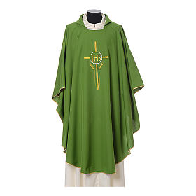 Chasuble in polyester with JHS, cross and wheat embroidery s3