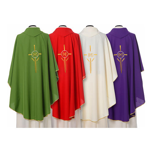 Chasuble in polyester with JHS, cross and wheat embroidery 2