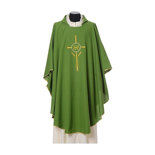 Chasuble in polyester with JHS, cross and wheat embroidery 3