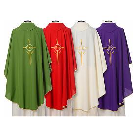 Chasuble 100% polyester IHS croix épis s2
