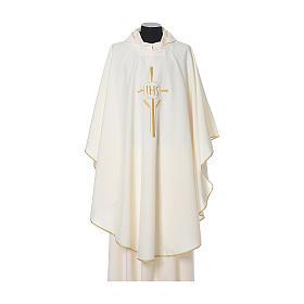 Chasuble 100% polyester IHS croix épis s4