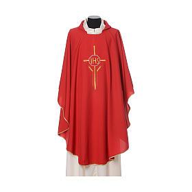 Chasuble 100% polyester IHS croix épis s6