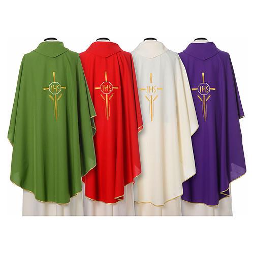 Chasuble 100% polyester IHS croix épis 2