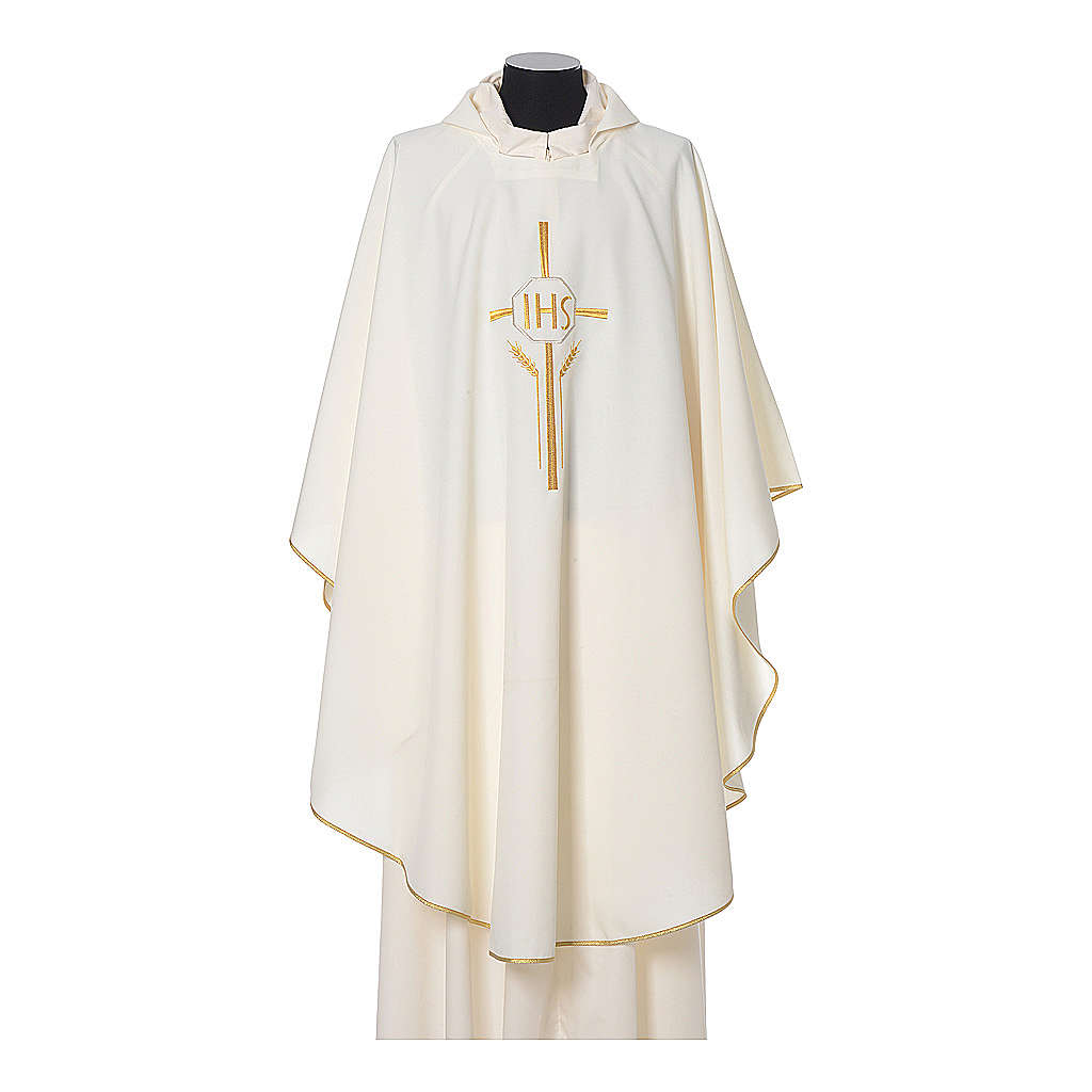 Chasuble in polyester with JHS, cross and wheat embroidery 4