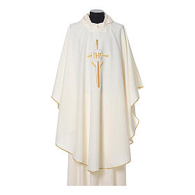 Chasuble in polyester with JHS, cross and wheat embroidery s4