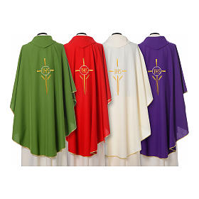 IHS Chasuble with cross and wheat embroidery in polyester s2
