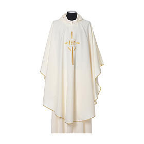 IHS Chasuble with cross and wheat embroidery in polyester s4