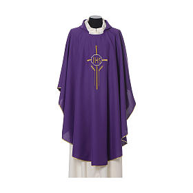 IHS Chasuble with cross and wheat embroidery in polyester s5