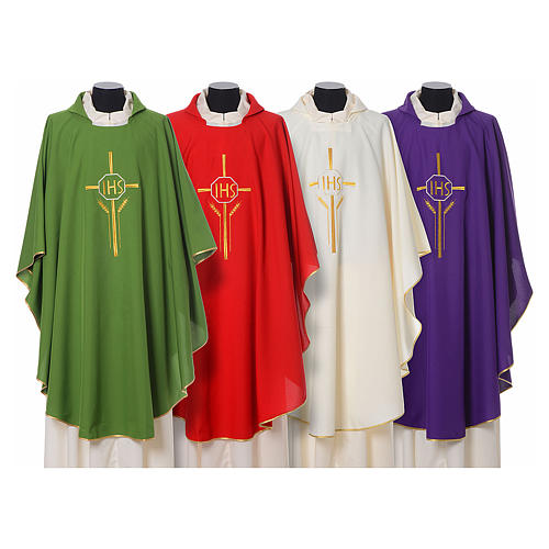Chasuble in polyester with JHS, cross and wheat embroidery 1