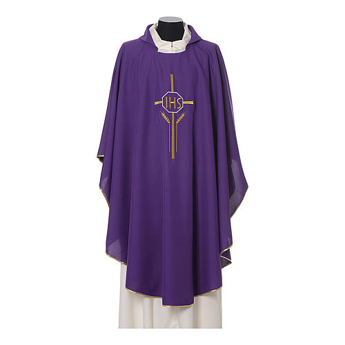 Chasuble in polyester with JHS, cross and wheat embroidery 5