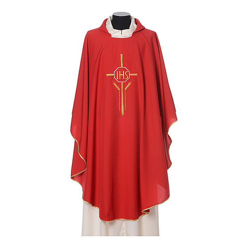 Chasuble in polyester with JHS, cross and wheat embroidery 6