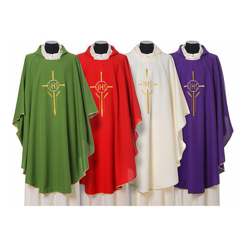 IHS Chasuble with cross and wheat embroidery in polyester 1