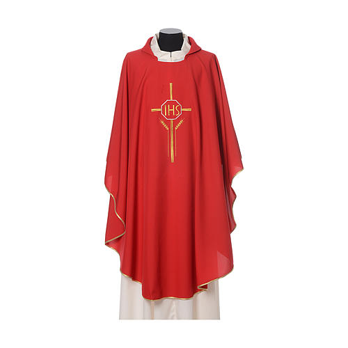 IHS Chasuble with cross and wheat embroidery in polyester 6