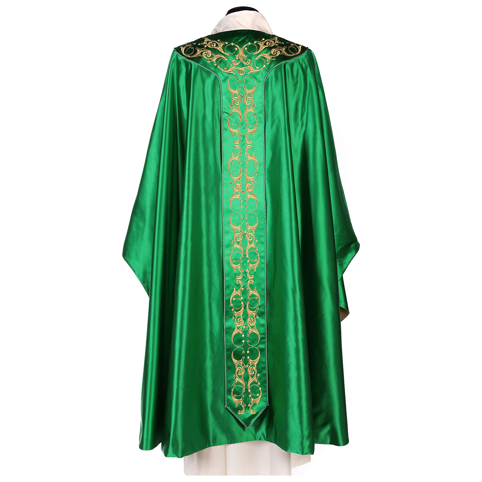 Medieval Chasuble in pure silk with floral embroidery on orphrey 4