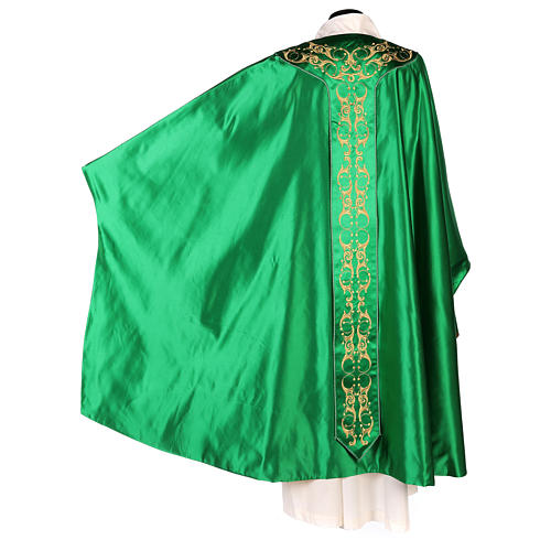 Medieval Chasuble in pure silk with floral embroidery on orphrey 7