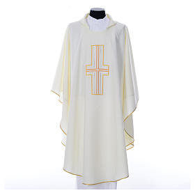Liturgical chasuble in polyester with colored cross embroidery s4