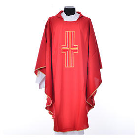 Liturgical chasuble in polyester with colored cross embroidery s5