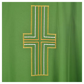 Liturgical chasuble in polyester with colored cross embroidery s6