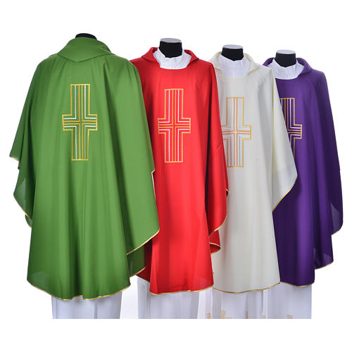 Liturgical chasuble in polyester with colored cross embroidery 2