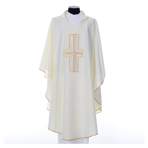 Liturgical chasuble in polyester with colored cross embroidery 4
