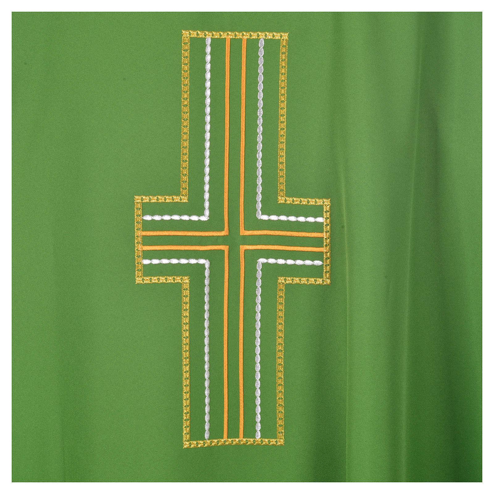 Casulla cruz blanca y dorada 100% poliéster 4