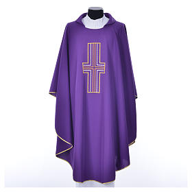 Liturgical chasuble in polyester with colored cross embroidery s3
