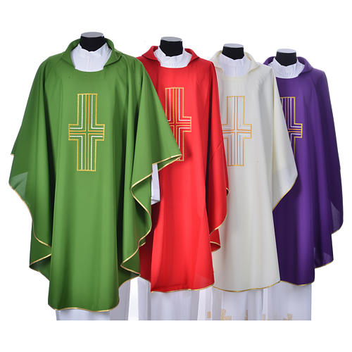 Liturgical chasuble in polyester with colored cross embroidery 1