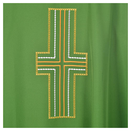 Liturgical chasuble in polyester with colored cross embroidery 6