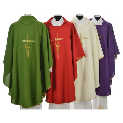 Chasuble broderie épi sur croix en polyester 2