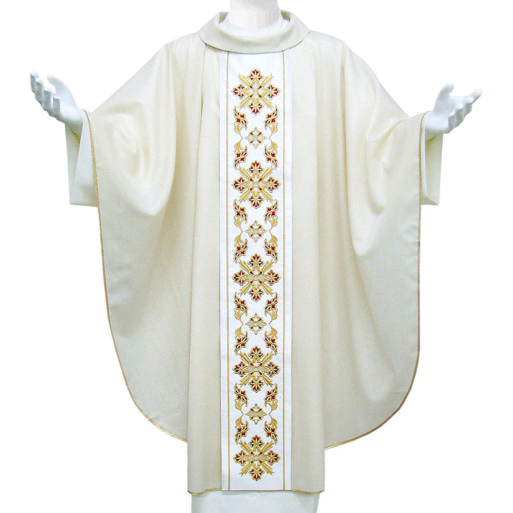 Catholic Chasuble in wool and lurex with floral embroidery on orphrey 4
