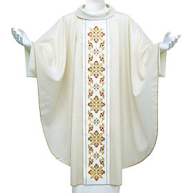 Catholic Chasuble in wool and lurex with floral embroidery on orphrey s1