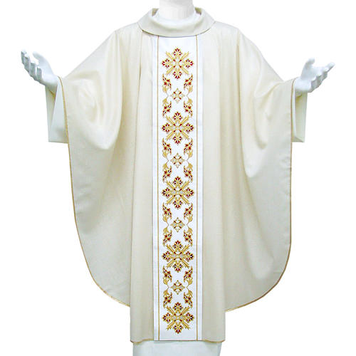 Catholic Chasuble in wool and lurex with floral embroidery on orphrey 1
