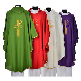 Chasuble in shiny polyester with Chi-Rho s2