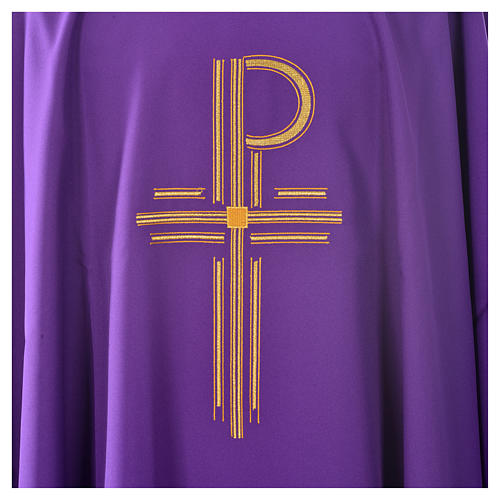 Chasuble in shiny polyester with Chi-Rho 3