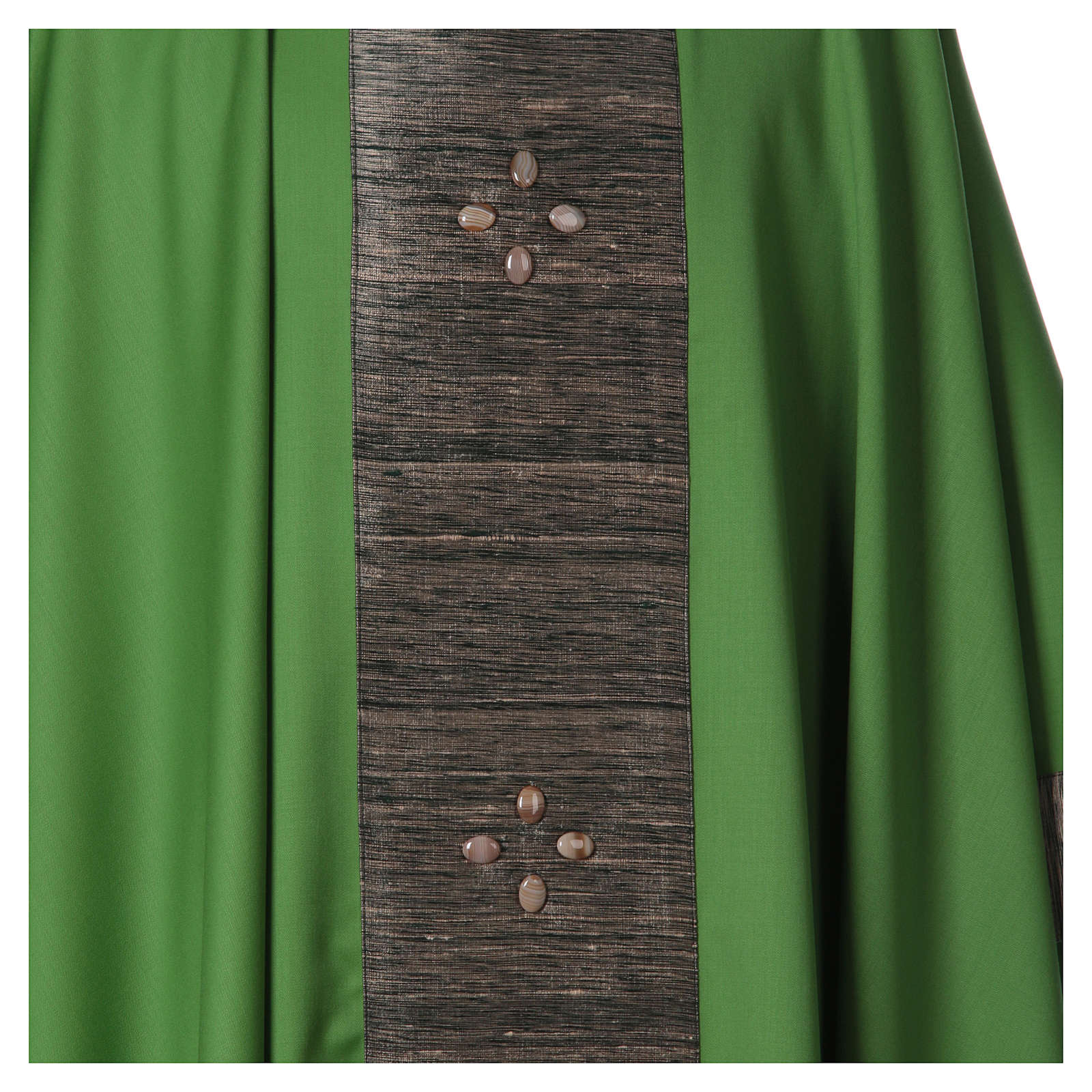 Chasuble in wool with orphrey in silk and sardonyx agate stones 4