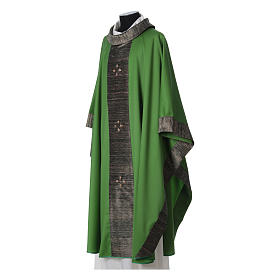 Chasuble in wool with orphrey in silk and sardonyx agate stones s10