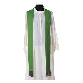 Chasuble in wool with orphrey in silk and sardonyx agate stones s12